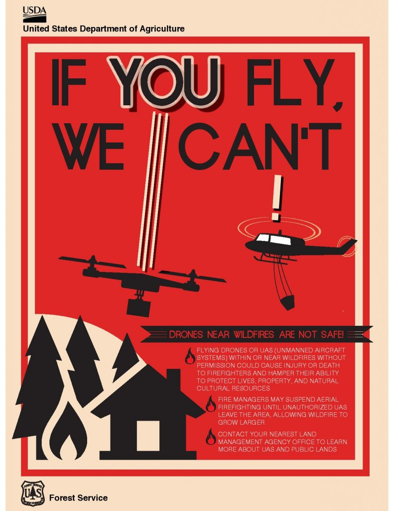If you fly, we can't- drones are prohibited in fire areas. black artistic rendering of two drones over a forest owith a red background