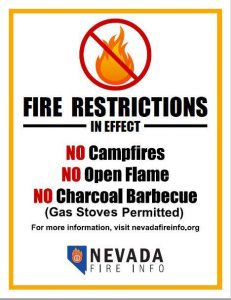 fire restrictions in effect including no campfires, no open flames, no charcoal barbecue. Gas stoves are permitted if they have an on/off switch