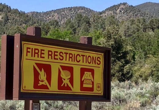 fire restriction sign in Lovell Canyon