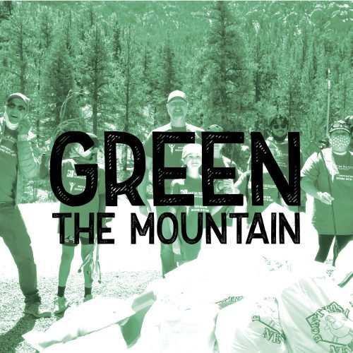 Green the mountain over a green tinted image of volunteers in a forest standing over full trash bags