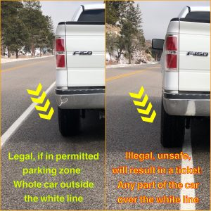 Vehicles must park all the way to the right of the white line when parking on the side of the road