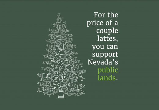 pine tree shaped out of takeout coffee cups in white over green background with the words for the price of a couple lattes you can support public lands