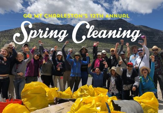 Spring cleaning banner with families cheering in front of Spring Mountains with many trash bags full of litter