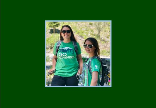 Staff wearing Recycled Go Mt Charleston tee in forest